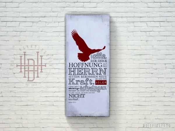 Adler – Vintage Wandbild (Holz) mit Bibelvers