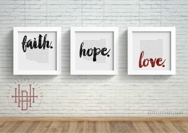 Beliebt Bevorzugt Glaube – Hoffnung – Liebe [Poster-Set weiß] | Poster | Holy Heart #SO_72
