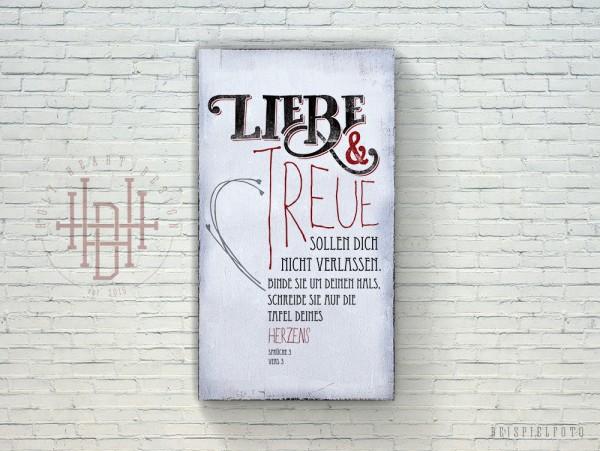 Liebe & Treue (klein) – Vintage Wandbild (Holz) mit Bibelvers