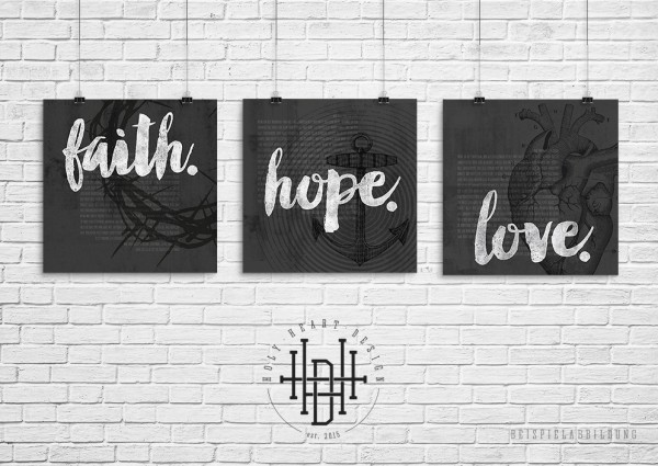 Glaube – Hoffnung – Liebe [Poster-Set grau]