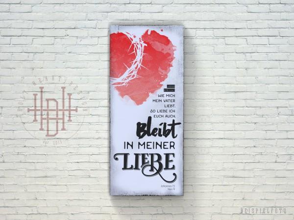 Bleibt in meiner Liebe – Vintage Wandbild (Holz) mit Bibelvers