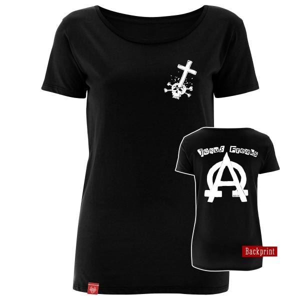 Girlie-Shirt Jesus Freaks Alpha Omega Oldschool (Schwarz)