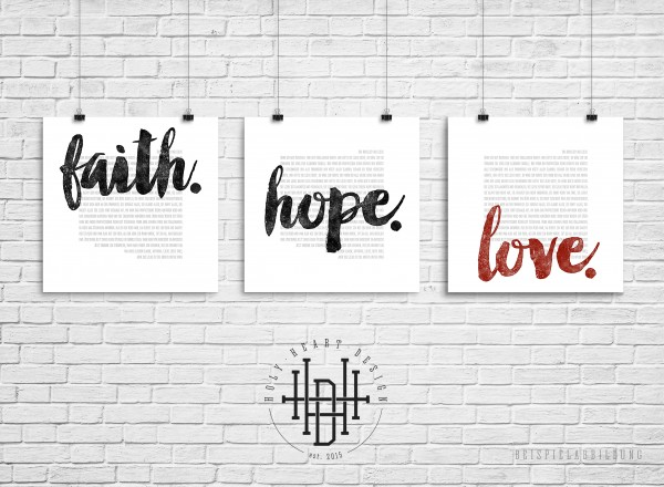 Glaube – Hoffnung – Liebe [Poster-Set weiß]