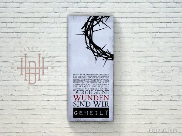 Geheilt – Vintage Wandbild aus Holz mit Bibelvers