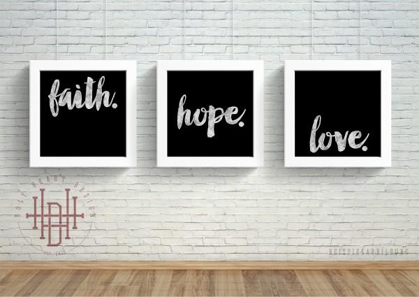 Glaube – Hoffnung – Liebe [Poster-Set schwarz]