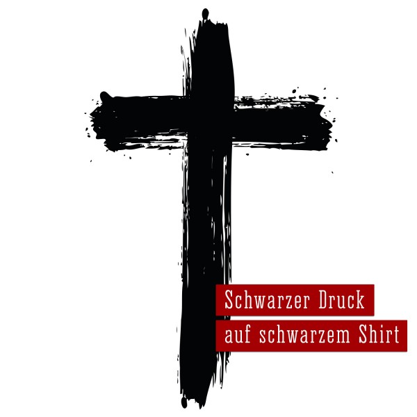 Kapuzenjacke Kreuz – schwarz auf schwarz